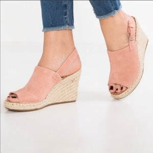 TOMS Monica Pink Suede Wedge Sling Back Sandals